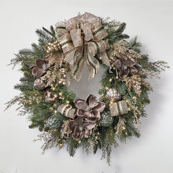 """Frontgate - Vintage Glamour Pre-decorated Christmas Wreath - Coordinates with our Vintage Glamour 60-piece Ornament Collection. Wreath, Garland and Mantle Swag are pre-lit with clear, warm, superbright lights that shine for 3,000 hours. Centerpiece has three candle trays that each hold a 4"""" dia. candle. Our lush, lifelike Tree Bouquets add gorgeous color to your tree and enhance a wreath, centerpiece or mantel display. Color palette complements a neutral decor. In muted shades of mauve, silver and champagne, our impressive Vintage Glamour Pre-decorated Greenery channels a vintage-inspired yet timeless look, exuding glamour with designer touches. Antiqued mercury glass ornaments, decorative sprays and glittery wire-mesh ribbon blend beautifully with lush, lifelike evergreen and pine.  .  .  .  .  . To maximize fullness, greenery will need to be shaped after opening . Recommended for indoor use only . 36"""" cord on all lit items . Additional ribbon not available separately."""