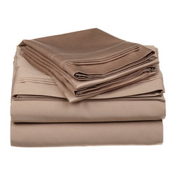 """Egyptian Cotton 650 Thread Count Solid Chocolate Twin Sheet Set - Our 650 Thread Count Sheet Set offers high thread count durability with premium softness. They are composed of long-staple cotton and have a """"Sateen"""" finish as they are woven to display a lustrous sheen that resembles satin. Set includes: (1) Fitted 39""""x75"""", (1) Flat 66""""x100"""", (1) Pillowcase 20""""x32""""."""
