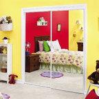 CONTRACTORS WARDROBE - Savoy 95 x 80 Mirror Door White - Mirror bypass doors with white painted steel frame.