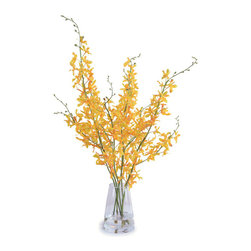 New Growth Designs - Spider Orchid Arrangement, Yellow Gold - Vibrant golden Spider orchid stems are hand-arranged in a dramatic glass bucket vase and held in a clear acrylic solution. Display this realistic-looking arrangement in your bedroom or living room for your very own contemporary look.
