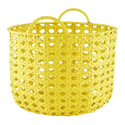 Lattice Floor Bin, Yellow - What to do with all of those tiny kids' shoes? Toss them into a basket for consolidated keeping. Don't make the mistake of choosing a canvas or tightly woven basket; opt instead for something like this that permits breathability, will allow damp soles to dry and will let the inevitable dirt and sand sift right on down to the floor where it can be easily swept up.