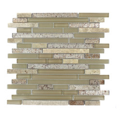 "GlassTileStore - Tao Sahara Tan Glass and Stone Mosaic Tile - TAO SAHARA TAN GLASS TILE  The mixture of glass and stone creates a sleek and attractive design or any room. The combination of the blend of polished and frosted glass with painted foil glass in cream and the light emperidor creates a beautiful modern and contemporary backdrop. The mesh backing not only simplifies installation, it also allows the tiles to be separated which adds to their design flexibility.     Chip Size: 1/2"" x Random    Color: Cream, Bronze/Gold and Light Emperidor   Materials: Emperidor and Glass   Finish: Polished, Frosted and Painted Foil   Sold by the Sheet - each sheet measures 12""x12"" (1 sq. ft.)   Thickness: 8mm       - Glass Tiles -"