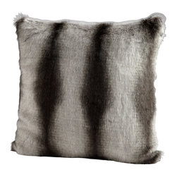 Cyan Design - Cyan Design Faux Chinchilla Pillow X-73560 - The faux fur facade of this Cyan Design pillow gives it a surprisingly luxurious appeal. The pattern of this faux chinchilla pillow is complimented by organic stripe detailing in shades of deep charcoal and silvery gray.