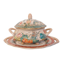 "Oriental Furnishings - Oriental Hand Painted Water Lily Tureen with Lid and Plate - Hand painted and antique crackle-glazed, this water lily with dragon fly lidded bowl and dish makes a usable, graceful addition to your table top. Rich Chinese greens, teals, pinks and oranges create a colorful accent for any decor. Use on a coffee table, buffet or server.  This three piece set measures 7"" x 11"" x 6"" H and its small size is perfect for a tea setting. Not for hot food use but use as a sugar bowl or candy bowl."