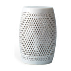 Kathy Kuo Home - Granada Coastal Beach Style Pierced White Garden Seat Stool - Garden stools like this are so versatile. You can use them as an end table, extra seating, as a plant stand or even group a few together to form a coffee table — indoors or out. Made from ceramic that looks as though it's been woven, this stool adds a light, airy touch wherever it sits.