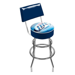Trademark Global - Padded Bar Stool w Backrest & Miller Lite Log - Adjustable levelers. Backrest for added comfort . Long lasting officially licensed Miller Lite logo. Great for gifts and recreation decor. 7.50 in. High padded seat. 30 in. High bar stool great for bar pub table and bars (40 in. tall with backrest). Commercial grade vinyl seat. Chrome plated double rung base. 14.75 in. W x 14.75 in. D x 40 in. H (25 lbs.)This Miller Lite Bar Stool with backrest will be the highlight of your bar and game room.