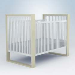"ducduc - ducduc Austin Crib - Living up to the fun and sophistication of its company name, ducduc furniture delivers modern style to the today's family. A hint of retro inspiration combines with modern safety in the Austin crib for a minimal look. Box frames support and accent the white crib, choose from several color and finish combinations to achieve your style. Made in the USA using sustainably harvested hardwood and water-based, non-toxic finishes. 59""W x 31.5""D x 44""H (crib rail height: 39.25). Fixed side rails with 4 mattress height options. Exceeds CPSC and ASTM safety standards. Low carbon footprint production techniques. Formaldehyde and lead-free. Optional white hardwood conversion rail available. Low carbon footprint production techniques. Formaldehyde and lead-free. ducduc gives back to the community through several charities."