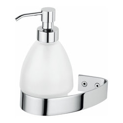 "WS Bath Collections - WS Bath Collections Alinea 2132 Wall Mounted Soap Dispenser - Alinea 2132, 4.7"" x 4.1"" x 4.9"", Soap Dispenser in Frosted Glass/ Polished Chrome"