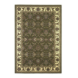 Cambridge 7314 Green/Ivory Kashan Rug - Our Cambridge Series is machine-woven in China of heat-set polypropelene. This line features a current color palette in classic and transitional patterns providing a well-designed and durable rug at a very affordable price point. No fringe.