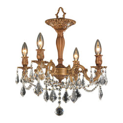 """Worldwide Lighting - Windsor 4 Light French Gold and Clear Crystal 13"""" Round Semi-Flush Ceiling Light - This stunning 4-light ceiling light only uses the best quality material and workmanship ensuring a beautiful heirloom quality piece. Featuring a cast aluminum base in french gold finish and all over clear crystal embellishments made of finely cut premium grade 30% full lead crystal, this chandelier will give any room sparkle and glamour. Worldwide Lighting Corporation is a privately owned manufacturer of high quality crystal chandeliers, pendants, surface mounts, sconces and custom decorative lighting products for the residential, hospitality and commercial building markets. Our high quality crystals meet all standards of perfection, possessing lead oxide of 30% that is above industry standards and can be seen in prestigious homes, hotels, restaurants, casinos, and churches across the country. Our mission is to enhance your lighting needs with exceptional quality fixtures at a reasonable price."""