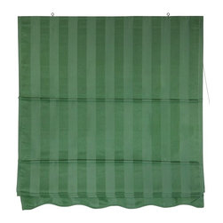 Oriental Unlimted - Striped Green Retractable Roman Shades (48 in - Choose Size: 48 in. W x 72 in. HRoman style retractable window treatments block light and provide privacy. Simple design is easy to operate and installs in minutes. Wider sizes can be used for ceiling mounted privacy screens. Installed on the wood frame around the window. Beautiful subtly striped cotton blend fabric in soft green color. 24 in. W x 72 in. H. 36 in. W x 72 in. H. 48 in. W x 72 in. H. 60 in. W x 72 in. H. 72 in. W x 72 in. H