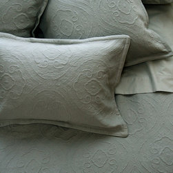 Au Lit Fine Linens - Charles Seaglass - Our Lavato Charles collection is a pre-washed Egyptian cotton matelasse woven in Italy. It's softly, textured scroll design gives it an elegant look perfect for the most sumptuous bedroom.
