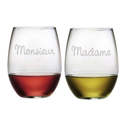Susquehanna Glass - Monsieur & Madame Stemless Wine Glass, 21oz, S/2 - Each 21 ounce stemless tumbler is sand etched, one with 'Madame' and the other 'Monsieur.' Dishwasher safe. Sold as a set of two. Made and decorated in the USA.