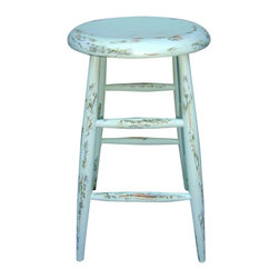 Consigned French Country Farmhouse Distressed Wood Stool - This Vintage Country Farmhouse Wood Stool has been Artfully Custom Hand-Painted in green and mint green by artist Alaina in her studio.  Faux Distressed revealing hints of original beige/tan color. A One-of-a-kind accent piece with multiple uses for your holiday gatherings. Mix with French Provincial or Country Glam Styles. Painted and Sealed.
