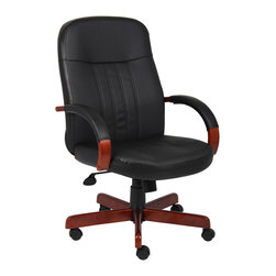"Boss Chairs - Boss Chairs Boss Leatherplus Executive Chair with Cherry Finish - Beautifully upholstered in black Leather plus. Leather plus is leather that is polyurethane infused for added softness and durability. Passive ergonomic seating with built in lumbar support. Hardwood arms accented with upholstered pads. Hardwood caps, on 27"" steel base, for greater stability. Hooded double wheel casters. Upright locking position. Pneumatic gas lift seat height adjustment. Adjustable tilt tension control."