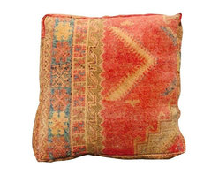 Used Tan & Red Vintage Moroccan Floor Pillow - The perfect accessory for your chair or sofa, this recycled kilim floor pillow was made in the mid and high Atlas Mountains in Morocco. This is a one of a kind pillow, hand selected from the souks in Marrakech. The pillow comes stuffed and has a zipper closure.
