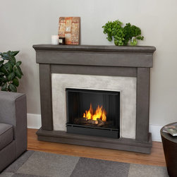 Real Flame Cascade Gel Fireplace - Warm up even the chilliest corner of your living room with the Real Flame Cascade Gel Fireplace. It's made of lightweight fiber-enforced concrete and backed with an internal steel frame that looks great in a wide variety of rooms. Not only will it enrich the décor, but it provides dazzling ambient light and soothing heat for hours, heat that you can easily manage with an easy to use control panel.
