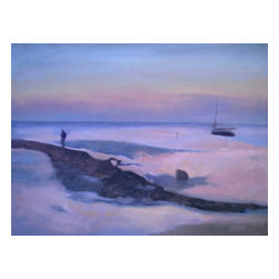 Cape Cod, Original, Painting - It's sunset on the Cape, and time to tie down the boat and head on home. But before you do, take a look at the beautiful view artist John Pacer captures of one of the most serene spots on the globe with this oil painting on canvas. It'll set just the right mood in your den, living room or bedroom. Comes unframed.