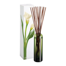 Botanika Essence Diffuser - Kali - 16 oz. - The dark blends with the sweet in this evocative scent of beautiful contradictions, opposites fusing into a deep, passionate purity. The Kali diffuser from the Botanika line releasing an aroma of muguet, gardenia, and ylang ylang flowers in an exotic forest of oakmoss and musk in a wood diffuser that perches elegantly on any counter.