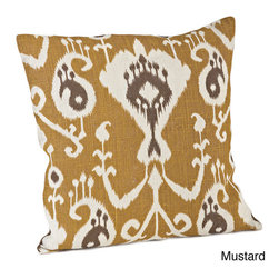 None - Ikat Design Jute 20 x 20-inch Throw Pillow - This ikat print burlap pillow features a dynamic print that is available in mustard, navy blue or pewter. The fill is a delightful and comfy duck fill.