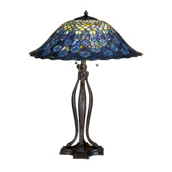 Meyda Tiffany - Meyda Tiffany Animals Table Lamp in Copperfoil - Shown in picture: Tiffany Peacock Feather Table Lamp; One Of Louis Tiffany's Favorite Patterns - The Peacock Feather Is Beautifully Reproduced In Handcrafted Copperfoil Construction By Meyda Tiffany Craftsmen. A Crest Of Multi Hued Scallops - Top A Ring Of Spectacular Teal And Amethyst Plumage. The Elegantly Flared And Undulating Stained Glass Shade Is Paired With A Mahogany Bronze Hand Applied Finished Base In This One Of A Kind Table Lamp.