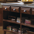 Schrock Island with Open Cabinets - Schrock's Open Shelving provides ample space to tastefully store cookbooks and other cooking essentials.