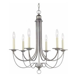 Sea Gull Lighting - 6-Light Chandelier Weathered Pewter - 31294-57 Sea Gull Lighting Plymouth 6-Light Chandelier with a Weathered Pewter Finish