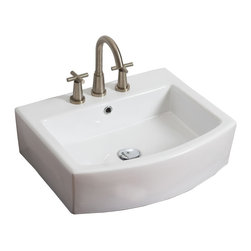 American Imaginations - 22-in. W x 20-in. D Above Counter Rectangle Vessel - It features a rectangle shape. This vessel is designed to be installed as an above counter vessel. It is constructed with ceramic. It is designed for a 8-in. o.c. faucet. The top features a 7-in. profile thickness. This vessel comes with a enamel glaze finish in White color. Above counter white ceramic vessel with an oval front This Vessel features Stainless Steel hardware. Double fired and glazed for durability and stain resistance. Quality control approved in Canada and re-inspected prior to shipping your order. Faucet and accessories not included.