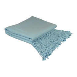 "Pur by Pur Cashmere - Signature Blend Throw Baby Blue 50""x65"" With 6"" Fringe - Bamboo velvet throw. 100%  bamboo.  Dry clean only. Inner mongolia."