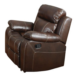 Coaster - Coaster Myleene Leather Glider Recliner Chair in Brown - Coaster - Recliners - 603023 - Whether you're having a family gathering or hosting a game night, this reclining chair is sure to make the occasion more enjoyable. The motion piece features plush bonded seating that contrasts beautifully with the baseball stitching for a touch of style. You'll be set with this chair in your home.