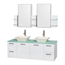 Wyndham Collection - Wyndham Collection Amare 60-inch Double Vanity in Glossy White with Green Glass - This simple yet elegant bathroom vanity showcases a  glossy white finish with  brushed chrome  hardware for a clean and contemporary look. The double vanity top features a green glass counter to complete the modern design.