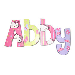 RR - Abby Hello Kitty Hand Painted Wall Letters - Hello Kitty Abby Hand Painted Wall Letters
