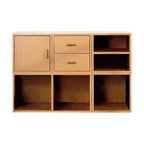 Foremost - 5-in-1 Modular Storage System (Honey), Honey - Finish: Honey. Includes shelf cube, 2-drawer cube, door cube, open cube and large divided cube. Made from wood, particle board, MDF and PE veneer. Assembly required. Small cubes: 15 in. W x 15 in. D x 15 in. H. Large cube: 30 in. W x 15 in. D x 15 in. H. Overall weight: 13.75 lbs.Customize the storage area in any room with this five-in-one modular storage system. With open storage, drawers and a cabinet, this piece offers a place for all of your items.