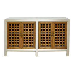 China Furniture and Arts - Elmwood Window Shutter Cabinet - Hand-painted in white, this cabinet instantly becomes an accent piece in any contemporary setting. Combining traditional Chinese window panel design with a modern white finish, this cabinet is perfect to be used as a media cabinet to store media components. One removable shelf behind each of the double doors for your storage convenience. Distressed white finish with hand-forged antiqued brass hardware. A perfect addition to any dining room, living room, or hallway. Cable outlets can be made upon request. Fully assembled.