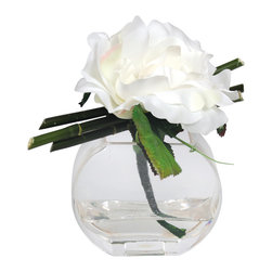Rose/Bamboo in Semi Circular Vase - Rose paired with bamboo atop a semi circular vase serves as a beautiful centerpiece.