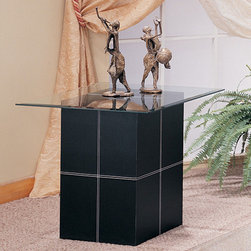Coaster - Black Contemporary End Table - Black bonded leather with white stitching and glass top.