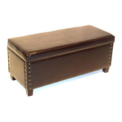 4D Concepts - 4D Concepts Virgina Storage Bench in Brown - What a beautifully crafted upholstered storage bench. This bench is perfect for any den, living room, entry way, or end of the bed. This bench will fit perfectly in the home and will meet your storage and seating needs. The large tufted top, which comes with a locking hinge, opens to a fully lined large storage area that is great for storing blankets, gloves, scarf's or whatever your needs might be. The thick solid wood legs are finished in a rich espresso finish. Constructed of wood and fabric. Clean with a dry non abrasive cloth. Light Assembly required.