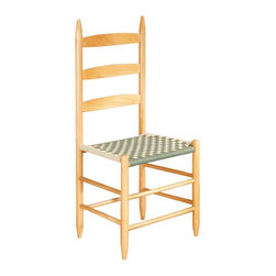 Renovators Supply - Ladderback Chairs Green Beechwood Ladderback Chair 42 1/2 H - Ladderback Chair. These ladderback chairs are made of solid beechwood and the woven cotton webbing seats are in a dark green and light green checkerboard pattern.  They are 42 1/2 in. high and 15 in. deep.