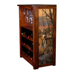 Kelseys Collection - Wine Cabinet 15 bottle Daybreak Whitetails - Wine Cabinet stores fifteen wine bottles and glassware with licensed artwork by Rosemary Millette giclee-printed on canvas side panels  The frame, top, and racks are solid New Zealand radiata pine with a hand stained and hand rubbed medium reddish brown finish, which is then protected with a lacquer coat and top coat. The art is giclee printed on canvas with three coats of UV inhibitor to protect against sunlight, extending the life of the art. The canvas is then glued onto panels and inserted into the frames.