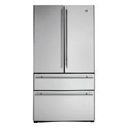 GE Monogram - GE Monogram® 20.6 Cu. Ft. French-Door Two Drawer Free-Standing Refrigerator - A Monogram free-standing refrigerator adds a stand-alone design that's beautiful to behold from any angle in your kitchen. Bright, polished stainless steel wraps the entire exterior, creating a clean aesthetic appearance uninterrupted by visible rivets or screws. While inside an advanced temperature management system creates ideal climate conditions in the fresh food and freezer compartments.