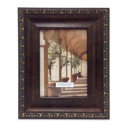 Lawrence Frames - Venice Bronze 4x5 Picture Frame, Bronze, 5 X 7 - A classic wide profile oil rubbed bronze finish picture frame with delicate antique gold carving around the outside edge.  This composite frame has a rich and lustrous bronze finish.  High quality black velvet backing with an easel for vertical or horizontal table top display, and hangers for vertical or horizontal wall mounting.    Heavy weight composite picture frame is made with exceptional workmanship and comes individually boxed.