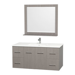 Wyndham - Centra Vanity 48in. in Grey Oak w/ White Stone Top & Square sink - Simplicity and elegance combine in the perfect lines of the Centra vanity by the Wyndham Collection. If cutting-edge contemporary design is your style then the Centra vanity is for you - modern, chic and built to last a lifetime. Available with green glass, white carrera marble or pure white man-made stone counters, and featuring soft close door hinges and drawer glides, you'll never hear a noisy door again! The Centra comes with porcelain, marble or granite sinks and matching mirrors. Meticulously finished with brushed chrome hardware, the attention to detail on this beautiful vanity is second to none.