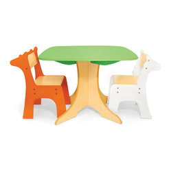Safari Collection, Tree Table With Giraffe and Zebra Chairs