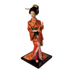 "n/a - 12"" H Dancing Japanese Geisha Doll with Drum in Orange Kimono. - This unique ceramic 12""h Japanese geisha Doll features a geisha dressed in a traditional orange and pink kimono, accented with metallic gold and green sash.   Each doll is handcrafted and her clothing is incredibly detailed. The face of the doll is quality crafted to give her realistic look. Use this Japanese geisha doll to add an Asian flair to your home or office. A great gift for the doll collector! Comes with a wooden black lacquer stand. We at oriental furnishings have 28 years of experience in the China trade. Shop with confidence with a industry leader."