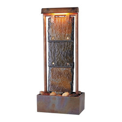 Kenroy Home - Kenroy Home Montpelier Table Fountain Natural Slate w/ Copper Finish - 50301COP - Our Natural Slate and Natural Copper finishes work together harmoniously in these attractive floor fountains. Included lights give these fountains a romantic glow at nighttime.