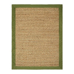 Chesapeake - Seagrass Area Rug in Sage (Large: 84 L x 60 W) - Choose Size: Large: 84 L x 60 W. Rectangular shaped. Handloomed. Made from 100% seagrass with cotton bindingBeautiful 100% Seagrass rug with latex backing compliments any room.