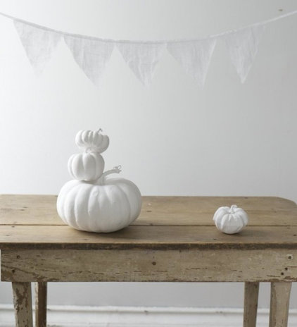 Eclectic  Simple Painted White Pumpkin and farm table