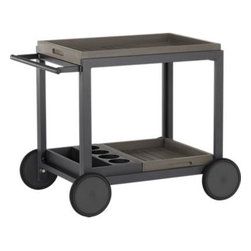 Alfresco Grey Cart - Roll out the party. Versatile entertainer features removable faux wood trays on the top and bottom, including one with four bottle openings. Sturdy wheels ensure easy mobility. Innovative slat design of polystyrene faux wood is treated with UV and anti-oxidant protection and finished a warm grey. Sturdy but lightweight aluminum frame is powdercoated black. The result is an outdoor entertaining system that will last season after season for years to come.