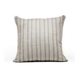 Cricket Radio - Indochine Paradise Stripe Pillow, Stone/Tan - Sink into casual comfort. This handmade pillow features simple stripes hand-printed on Italian linen. Each comes in two colors and coordinates with other pillows in the collection. And the 20-inch-square down insert pops out for easy cleaning.