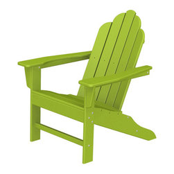"Polywood POLYWOOD® Long Island Adirondack Chair in Lime - Bring the easy comfort of a day at the beach to your outdoor living area with the stylish and eco-friendly Long Island Adirondack Chair inspired by the classic Northeast Adirondack with a twist of modern design. You don't need a house in the Hamptons to create your own breezy get away with these classically styled pieces constructed from HDPE material – an incredibly durable material made from post-consumer bottle waste, such as milk and detergent bottles. The Long Island Adirondack Chair comes in nine vibrant, fade-resistant colors so you can mix and match with any décor. Solidly constructed with stainless steel hardware, these pieces will stand the test of time and can withstand the elements with very little maintenance.  The Long Island Adirondack Chair will not absorb moisture, so there's no fear of splintering, cracking or other weather-related wear and tear. They require no waterproofing, painting or staining to maintain their bright color for years, even through rain, snow, saltwater and ice. The colors are blended into the material all the way through, and are UV-resistant. Minimal assembly is required.Available colors: Sunset Red, Tangerine, Lemon, Lime, Aruba, Pacific Blue, Teak, White, and Black.  Dimensions: Long Island Adirondack Chair – 38.5""H x 31.25""W x 33.75""D, Seat height – 16"", Seat size – 22"" x 17.75""   Care: The Long Island Collection washes easily with mild soap and water. They can be power washed at pressures below 1,500 PSI."